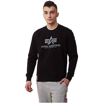 Alpha Industries Basic Sweater Reflective Print Black 178302RP03 sweatshirts universels pour hommes