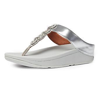 FitFlop Fino™ Sparkle Toe Post Sandals In Silver