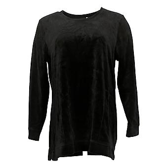 Denim & Co. Women's Top Velour Long-Sleeve Tunic With Pockets Black A390299