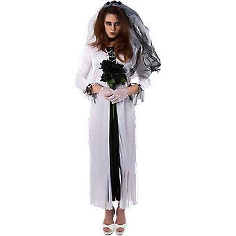 Womens Gothic Ghost Bride Halloween Fancy Dress Costume
