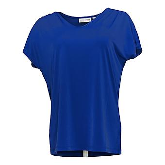 Susan Graver Kobiety's Top Liquid Knit Split-Sleeve Niebieski A304027