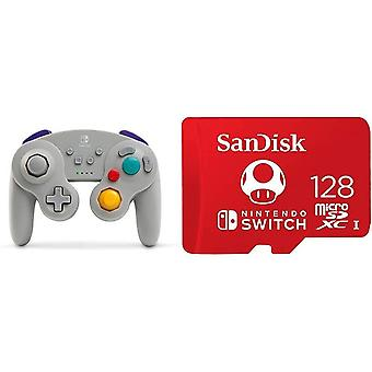 Wireless Officially Licensed GameCube Style Controller/Super Smash Bros. Grey & SanDisk