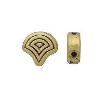 Bekken kralen vervangen voor Ginko kralen, Vlasios, 2-gats 7,5x7mm, 4 stuks, antieke messing verguld