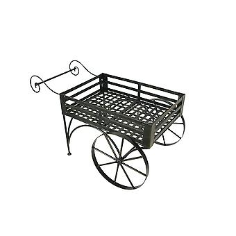 26 Inch Rustic Metal Wagon Cart Plant Stand Flower Holder Patio Art Garden Decor