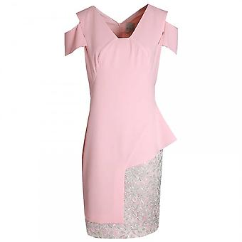 Paola Collection Peach Lace Panel Shift Dress