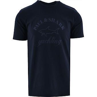 Paul och Shark Navy Tonal Logo Tryckt T-Shirt