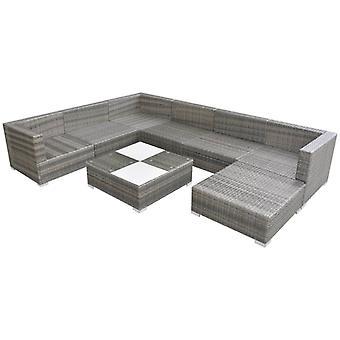 vidaXL 8-tlg. Garten-Lounge-Set mit Auflagen Poly Rattan Grau