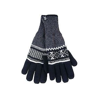 Mens mönstrade fleece fodrade termiska handskar