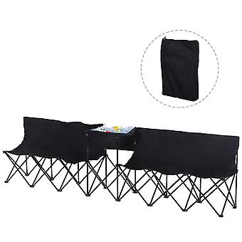 Outsunny 6 Seat Folding Sports Bench Portable Sports Team Bench Spectator Chair with Cooler Bag and Carrying Bag for Outdoor Picnic Camping - Black