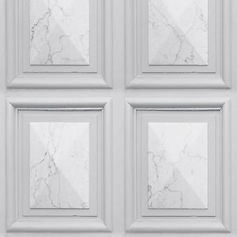 Marble Wood Panel Effect Wallpaper Light Grey World of Wallpaper AG500-03