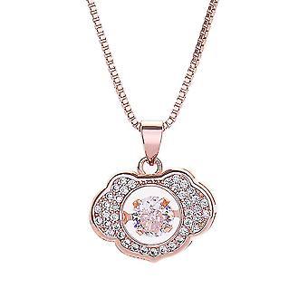 Kvinder halskæde Smart Crown Pulsatile Heart Long Life Pink Kunstig S925 Diamond 18k Guld kraveben