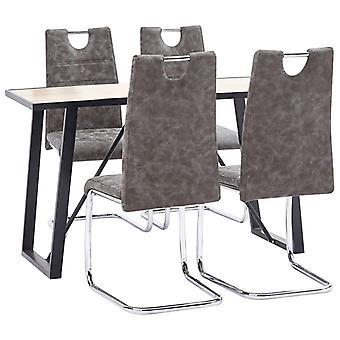 vidaXL 5 pcs. Dining group Braun faux leather