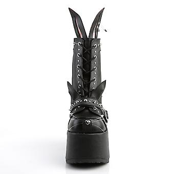 Demonia Kvinder's Støvler CAMEL-202 Blk Vegansk Læder