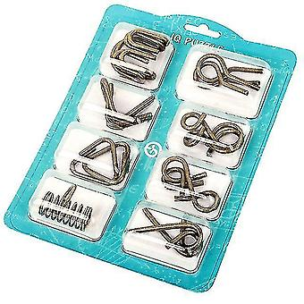 8pcs/set Metal Montessori Puzzle Wire Children Adults Interactive Game Reliever Educational