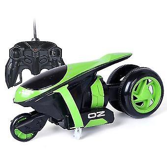 Kauko-ohjain Autot Thunder Drift Moottoripyörä Bounce Stunt Lelut Lahja lapsille Joulu (Vihreä)