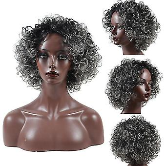 Grey Short Curly Wig For Women