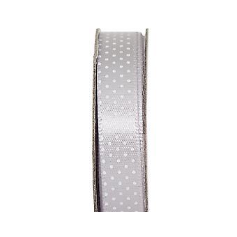 LAST FEW - 3m Soft Silver 10mm Wide Polka Dotted Satin Craft Ribbon