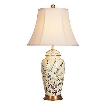 fin asiatiskliving orientalsk bordlampe porselen creme med blomster grener