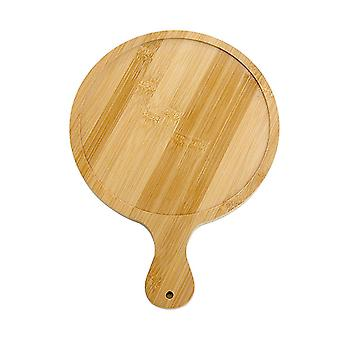 Bamboo Pizza Tray With Handle Round Steak Pizza Sliced Bread Board Fruit Vegetable Platter Cake