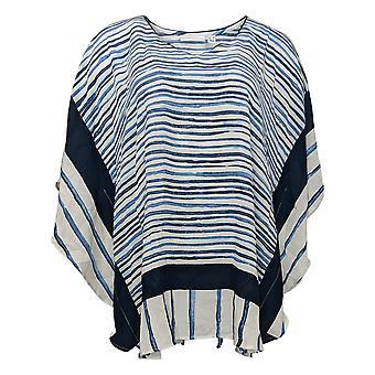 Susan Graver Top de las mujeres impresos bufanda tejida azul A376590