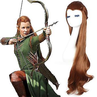 Hobit Wig Cap Tauriel Dlhé Curl Syntetické vlasové parochne