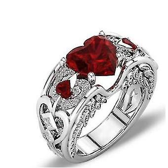 Oostenrijkse kristallen - Sterling Silver Heart Zircon Verlovingsringen