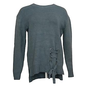 G By Giuliana Women's Sweater Lace-Up Detail Pullover Blue 637346