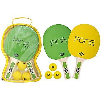 Donic Schildkrot Table Tennis Ping Pong Set Yellow / Green - 2 Bats and 3 Balls
