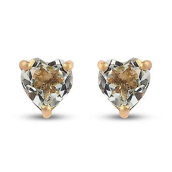 Prasiolite Heart Stud fülbevaló Aranyozott ezüst (Push Back) Ajándék feleségnek 12ct