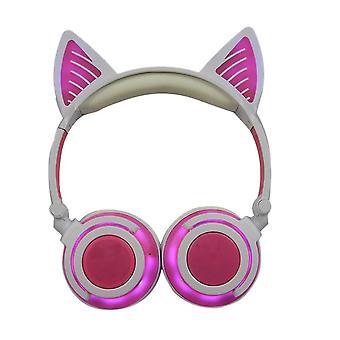 Kids Headphone Bluetooth Cat Ear(Pink)