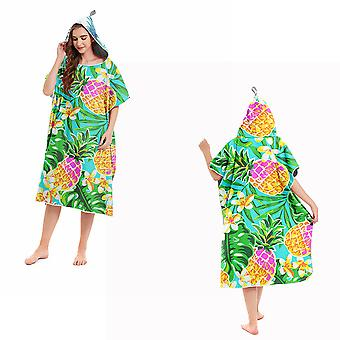 Homemiyn Hooded Beach Towel Robe Pineapple Print Hooded Bathrobe Bath Towel Beach Changing Bathrobe