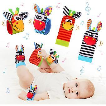 4pcs Baby Wrist Rattles & Footfinder Set  Baby Rattles Toys