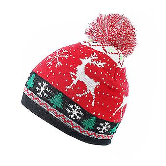 Swotgdoby Christmas Knitted Jacquard Hat, Unisex Warm Cap With Fur Ball