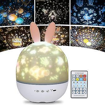 Night Light Projecteur Light Star pour enfants, 360 Musique Lumière de nuit rotative + Minuterie + Télécommande +6