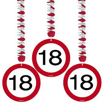Spiral Garland 3 St. trafik tegn nummer 18 fødselsdag rotor spiraler
