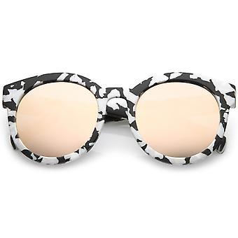 Mat corne cerclées en marbre impression lentille plate femmes ronde lunettes de soleil 54mm