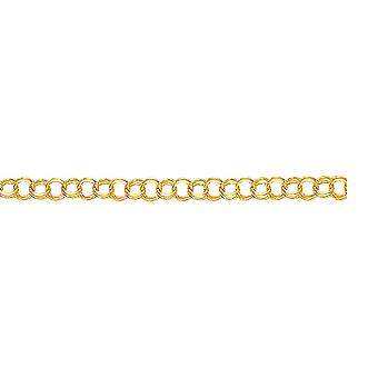 14k Yellow Gold Sparkle Cut Double Link Charm Bracelet With Lobster Clasp 6 Inch - 4.3 Grams