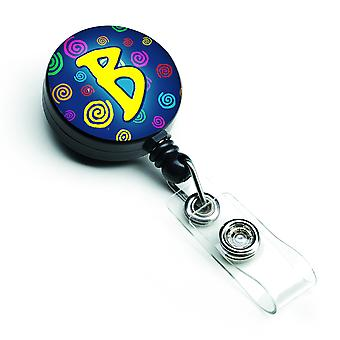 Letter B Initial Monogram - Blue Swirls Retractable Badge Reel