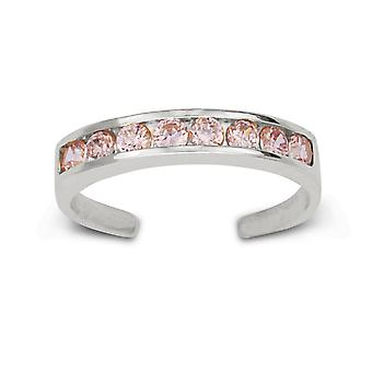 14k White Gold Pink Cubic Zirconia Adjustable Elegant Multistone Body Jewelry Toe Ring Jewelry Gifts for Women