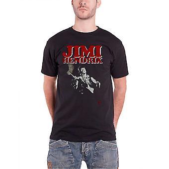 Jimi Hendrix T Shirt Block Logo Contrast Guitar Portrait Official Mens New Black