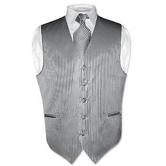 Men's Dress Vest & NeckTie Vertical Striped Design Neck Tie Set