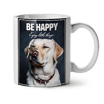 Be happy Labrador Dog NEW White Tea Coffee Ceramic Mug 11 oz | Wellcoda