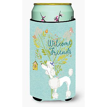 Welcome Friends White Poodle Tall Boy Beverage Insulator Hugger