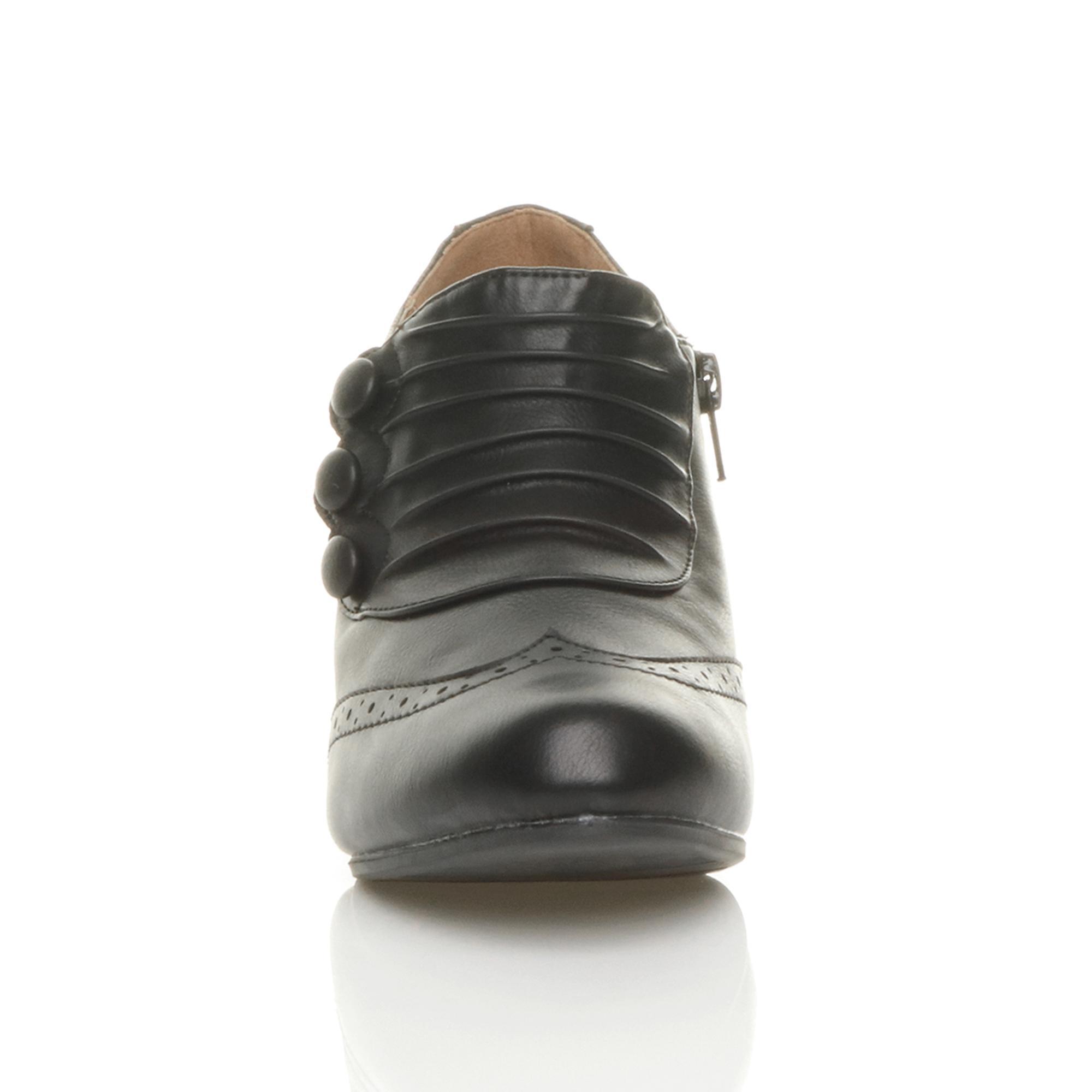Womens Ajvani milieu talon boutons zip brogue smart cheville chaussure bottes bottillons