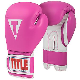 Title Boxing Classic Pro Style 3.0 Hook and Loop Training Gloves -Hot Pink/White