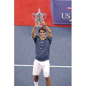 Roger Federer em atendimento para E.U. aberto de tênis Championship finais Arthur Ashe Stadium Flushing Ny foto 11 de setembro de 2005 por Rob RichEverett coleção de celebridade