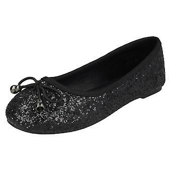 Девочек пятно на блеск балерины H2488 - черный блеск - Великобритания размер 13 - ЕС размер 32 - США размер 1