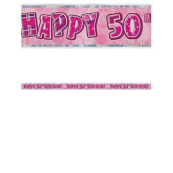 Bannière anniversaire Glitz rose 50thanniversaire prisme