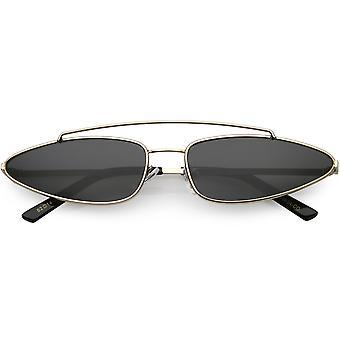 Smal metall Cat Eye solglasögon dubbel näsbrygga smal armar platt lins 61mm