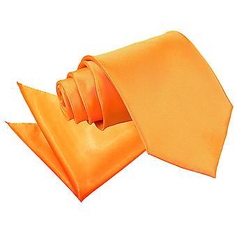 Fluorescent Orange Plain Satin Tie & Pocket Square Set